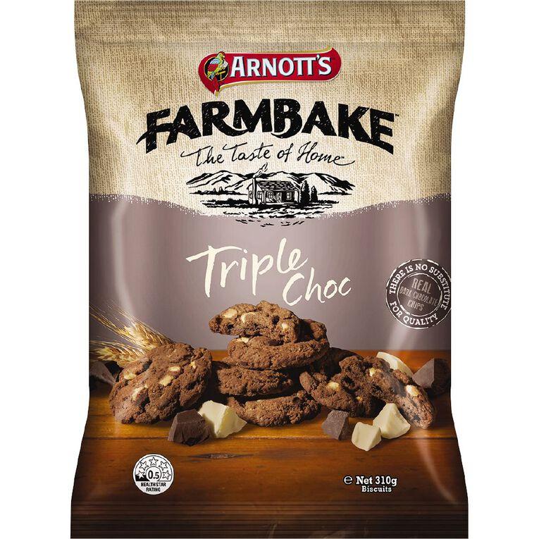Arnott's Farmbake Cookies Triple Choc 310g, , hi-res