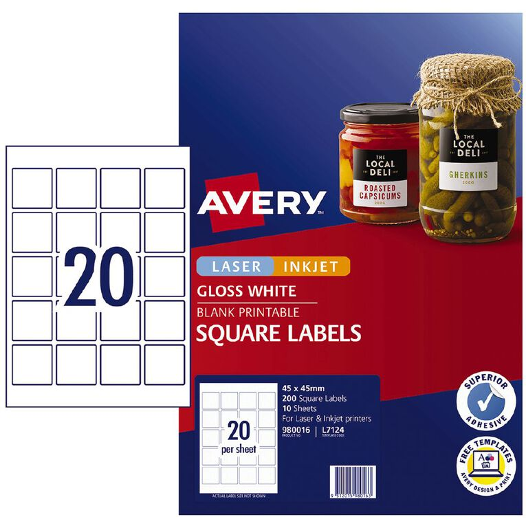 Avery Gloss Square Labels 45x45mm 200 Labels, , hi-res