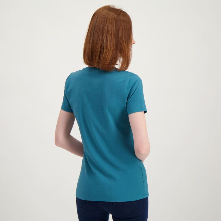 H&H Women's Scoop Neck Short Sleeve Tee, Teal, hi-res