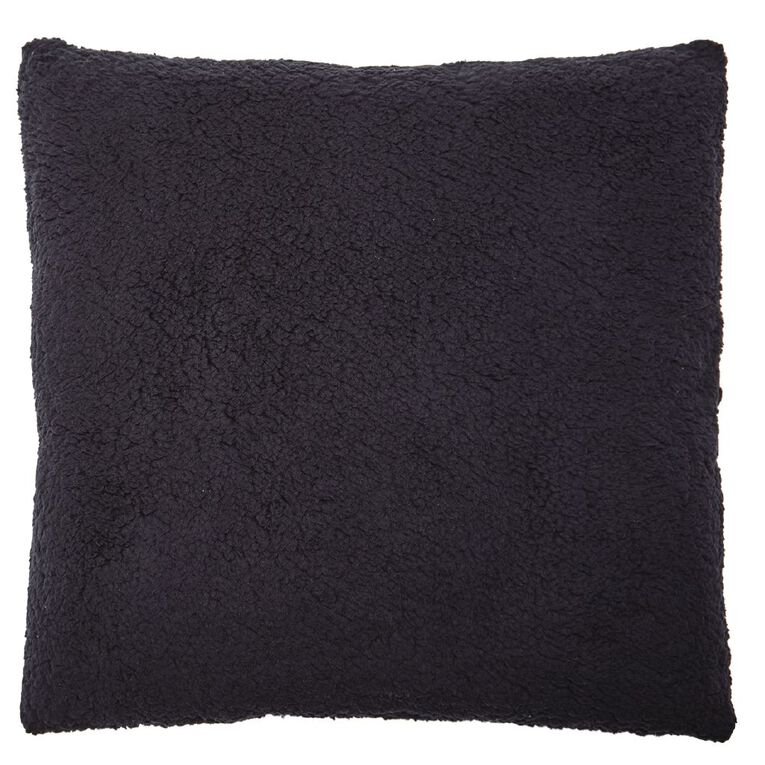 Living & Co Sherpa Cross Cushion Eclipse Blue Dark 50cm x 50cm, Blue Dark, hi-res