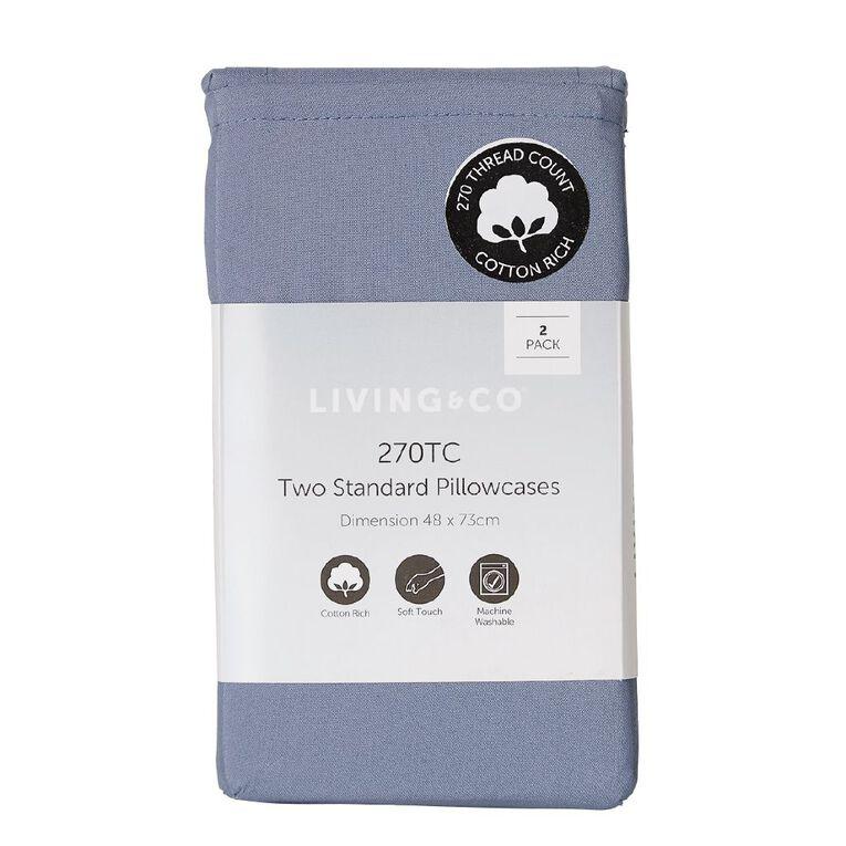 Living & Co Pillowcase Standard Cotton Rich 2 Piece Blue 48cm x 73cm, Blue, hi-res