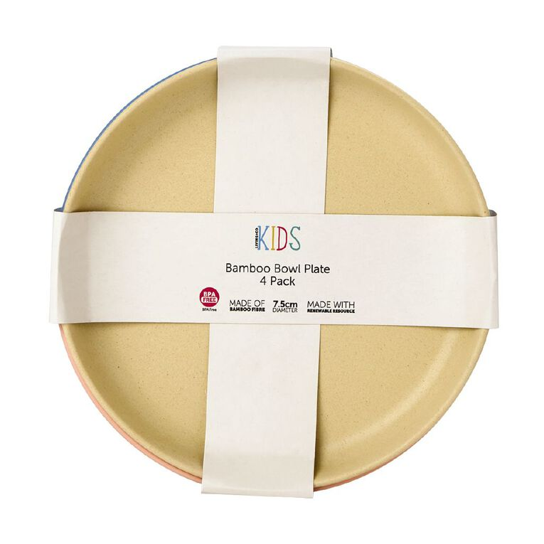 Living & Co Kids Bamboo Bowl Plate Multi-Coloured 4 Pack, , hi-res