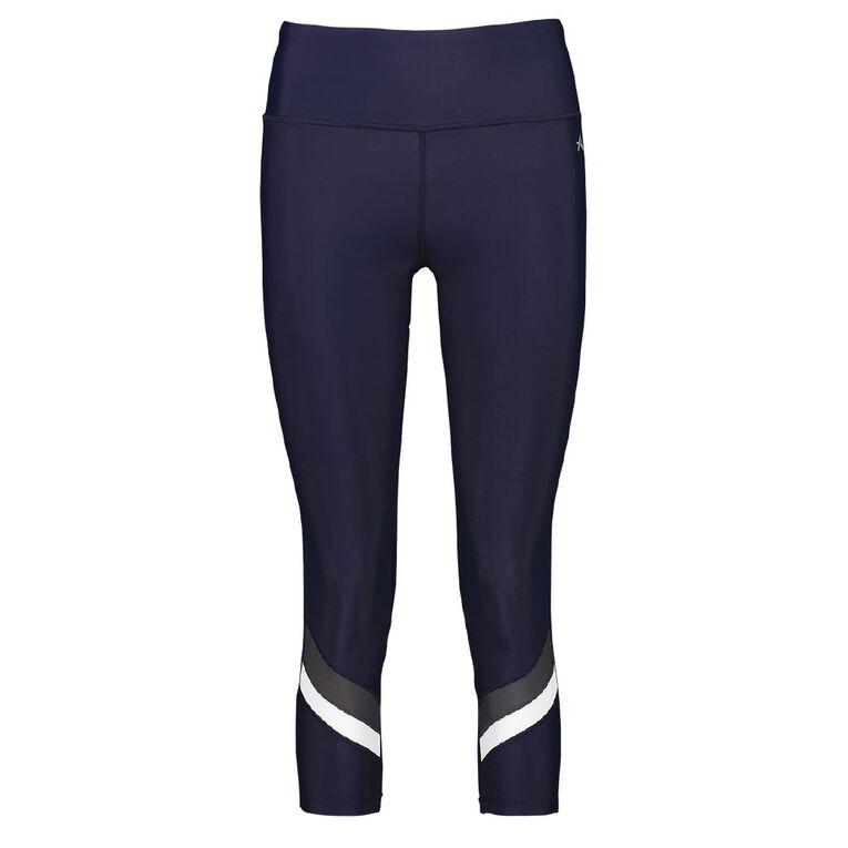 Active Intent Women's Multi Stripe Crop Leggings, Blue Dark, hi-res