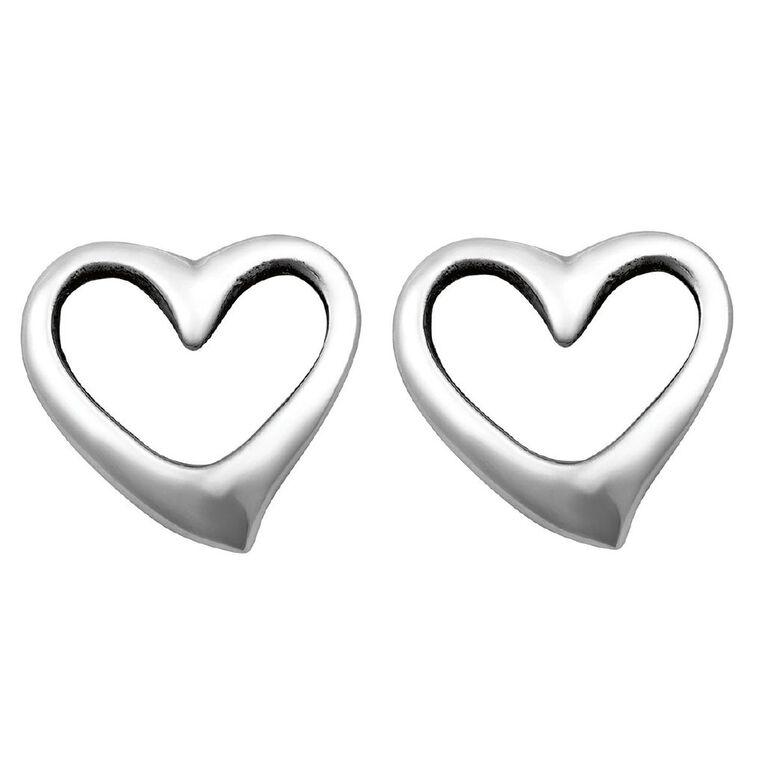 Sterling Silver Mini Heart Stud Earrings, , hi-res