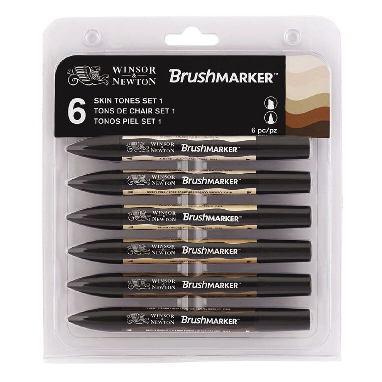 Winsor & Newton Brushmarkers Skin Tones 6 Pack, , hi-res
