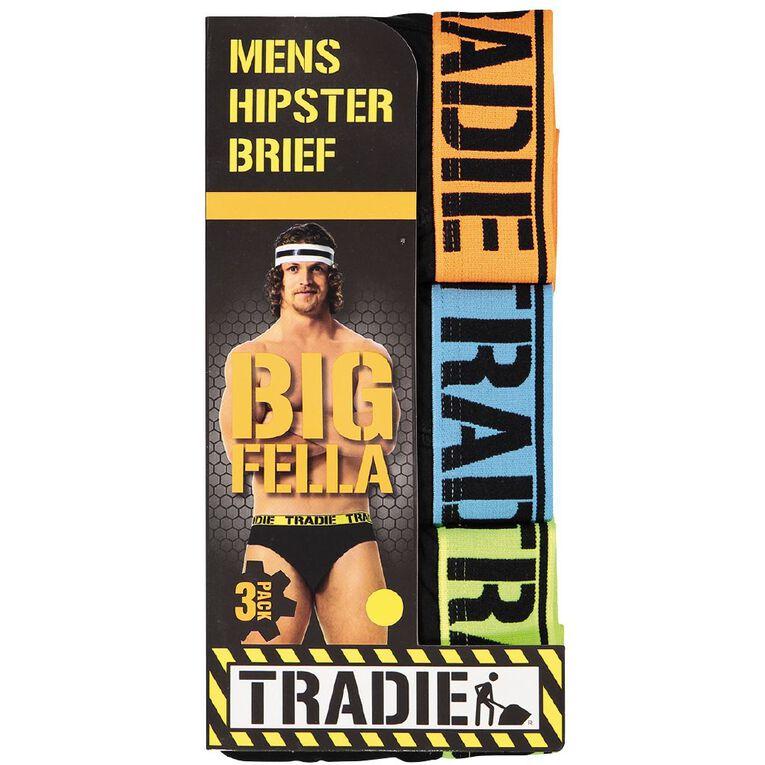 Tradie Men's Big Fella Briefs 3 Pack, Black, hi-res