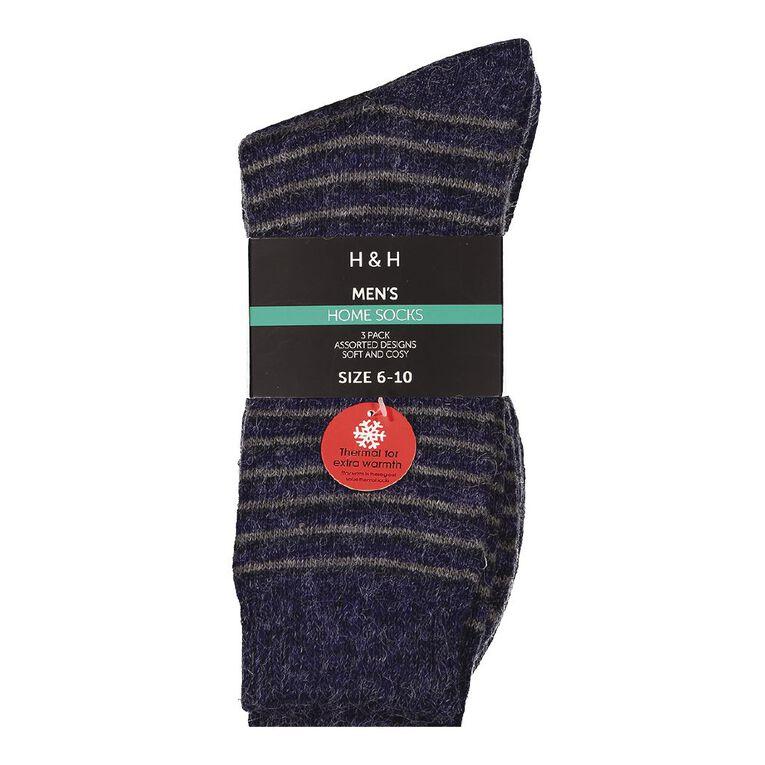 H&H Men's Home Socks 3 Pack, Navy, hi-res