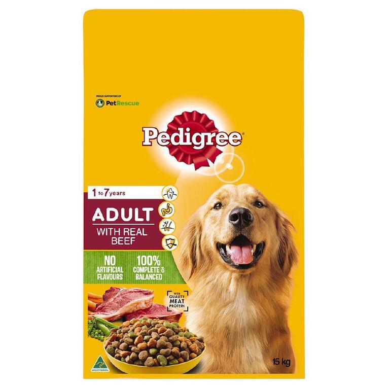 Pedigree Adult Dry Dog Food With Real Beef 15kg Bag, , hi-res