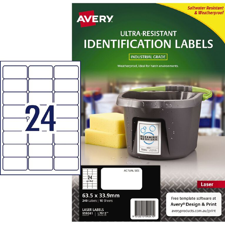 Avery Ultra-Resistant Outdoor Labels White 240 Labels, , hi-res