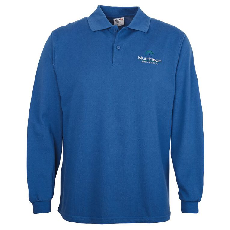 Schooltex Murchison Area Long Sleeve Polo with Embroidery, Royal, hi-res