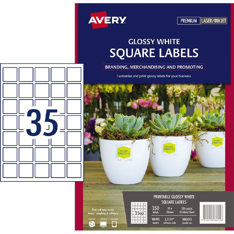 Avery Glossy Square Labels White 350 Labels, , hi-res