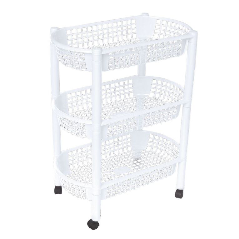 Living & Co Plastic Trolley White 3 Tier, , hi-res