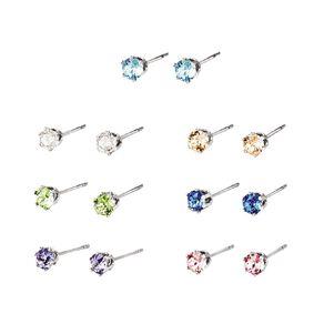 Mestige Silver Plated Multi Coloured Swarovski Crystal 7 Pack Earrings