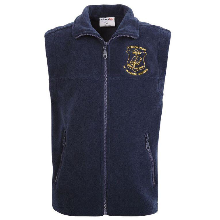 Schooltex Clendon Park Te Whanau Awhina Polar Fleece Vest, Navy, hi-res
