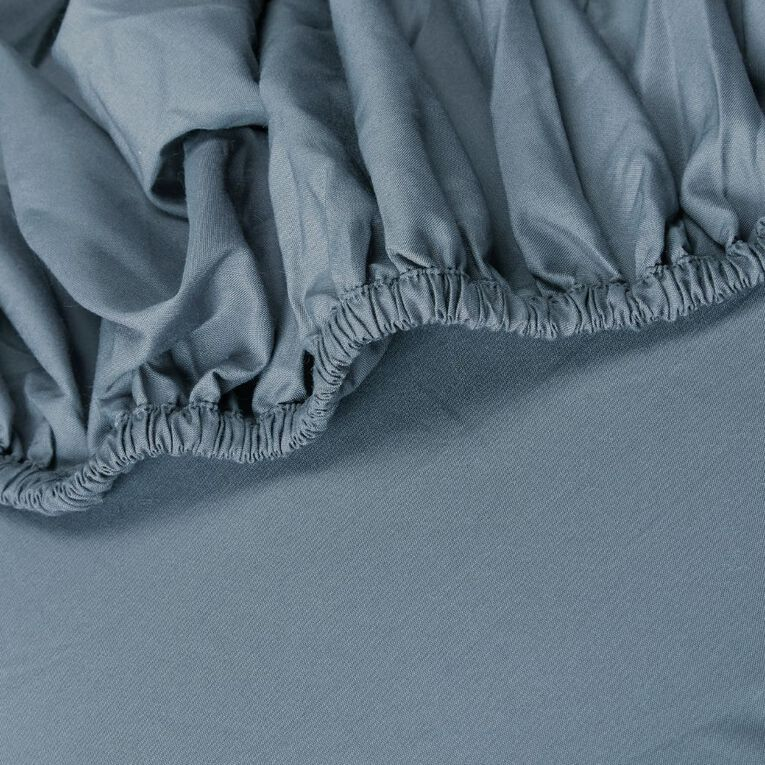Living & Co Sheet Fitted Cotton Rich 270 Thread Count Blue Queen, Blue, hi-res