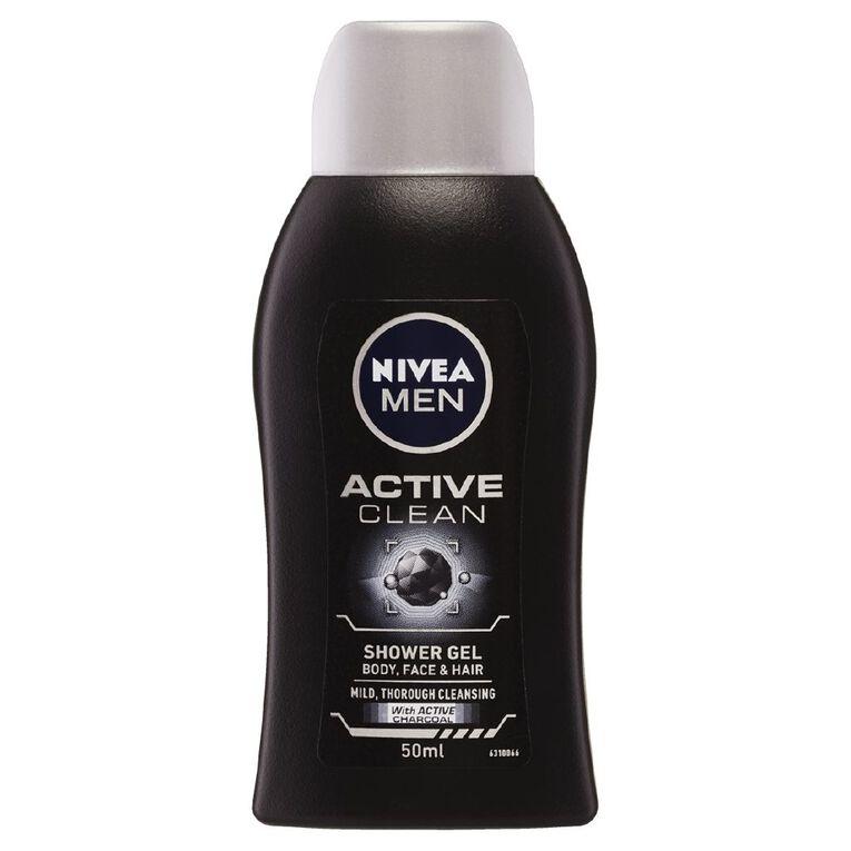 Nivea Shower Gel Men Mini Active Clean 50ml, , hi-res