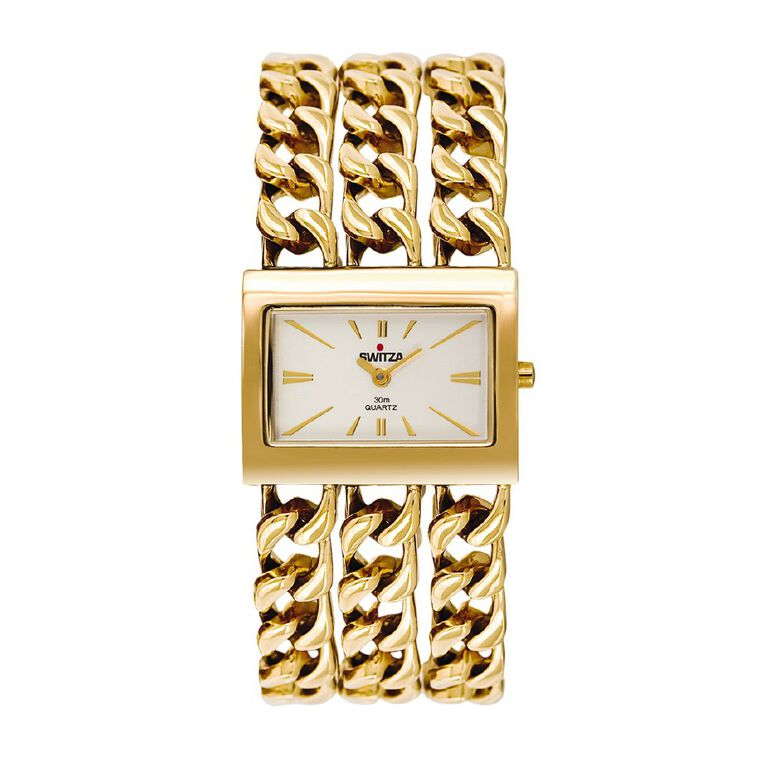 Switza Ladies' IPG Gold Chain Link Watch with Silver Dial, , hi-res