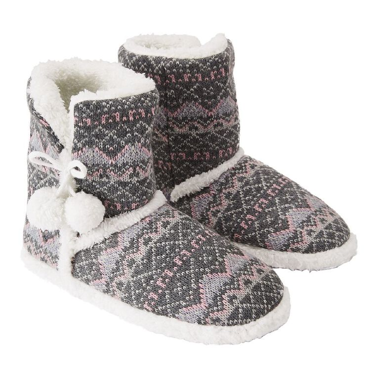 H&H Aztec Slipper Boots, Grey, hi-res