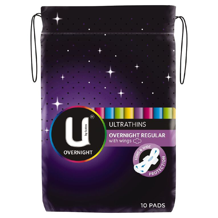 U By Kotex Ultrathin Pads Overnight With Wing 10s, , hi-res
