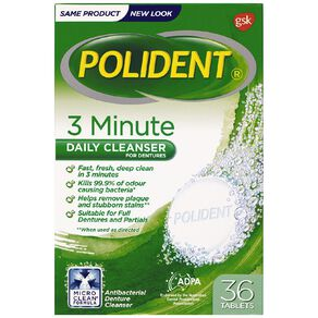 Polident Denture 3 Minute Daily Cleanser Tablets 36s