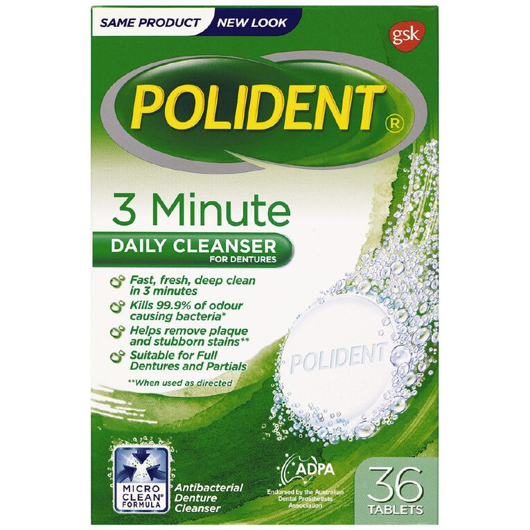 Polident Denture 3 Minute Daily Cleanser Tablets 36s, , hi-res