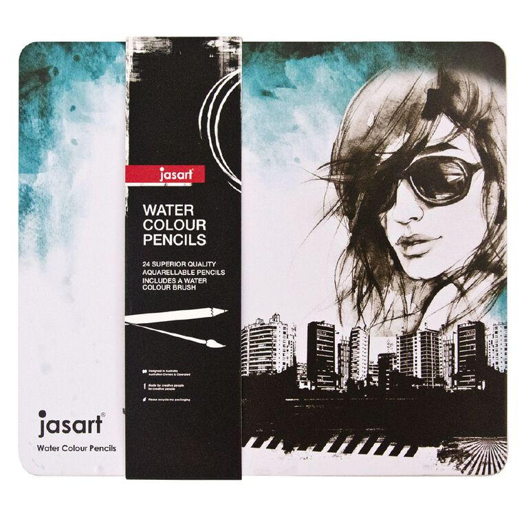 Jasart Watercolour Pencils in Tin 24 Pack, , hi-res