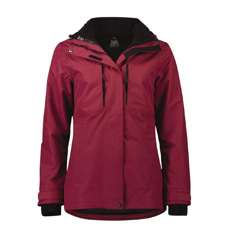 Active Intent Women's Textured Ski Jacket, Red Dark, hi-res