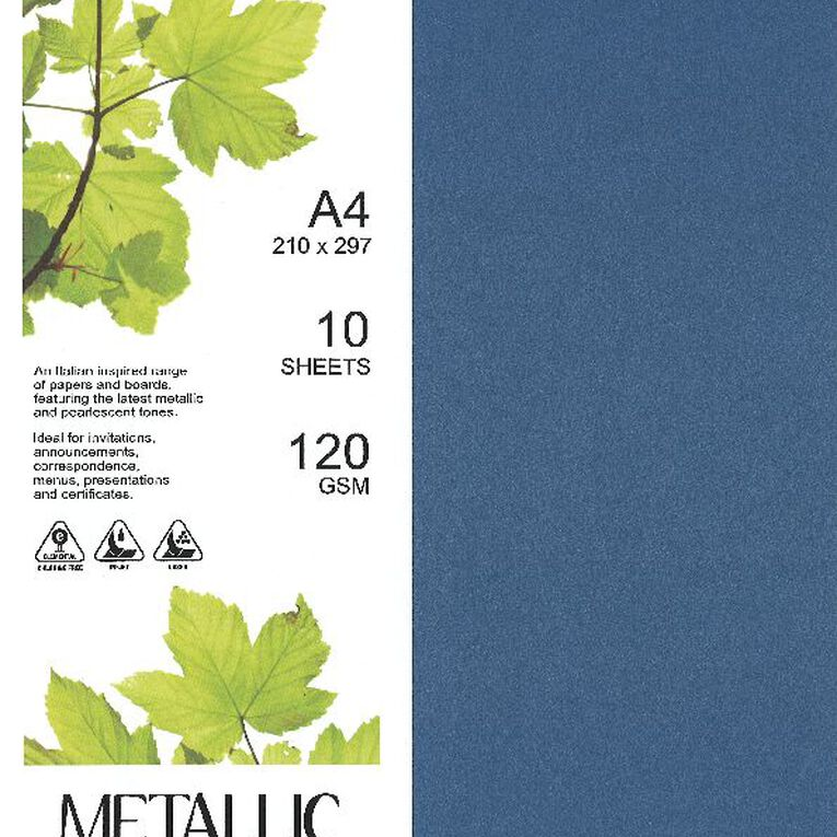 Direct Paper Metallic Paper 120gsm 10 Pack Sapphire A4, , hi-res image number null