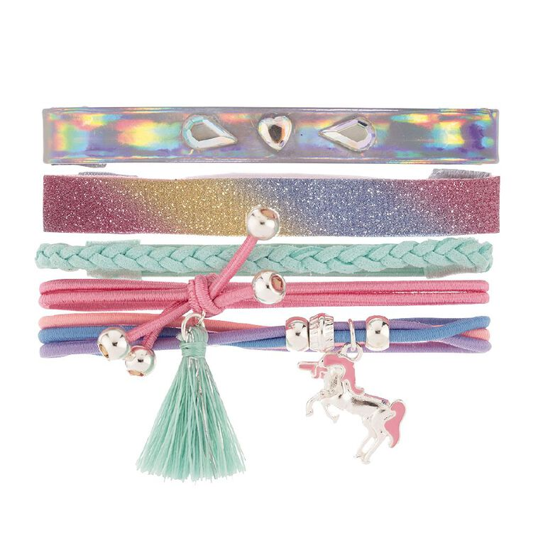 Kids Unicorn Gem Bracelet Set, Multi-Coloured, hi-res