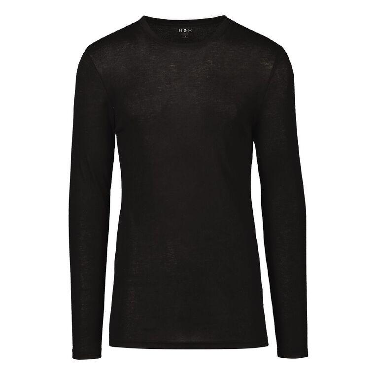 H&H Men's Polyester Viscose Long Sleeve Thermal, Black, hi-res