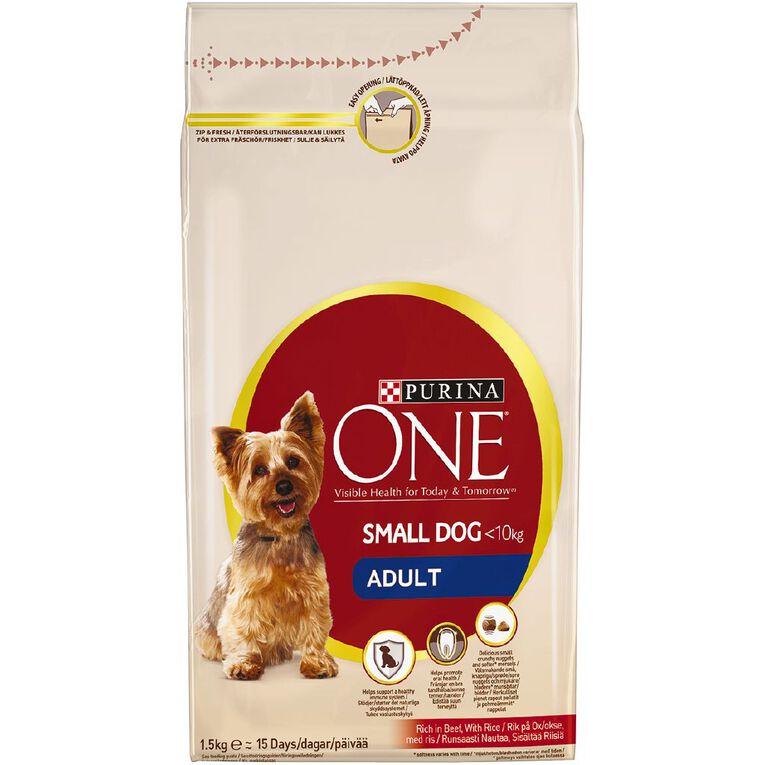 Purina ONE Dog Mini Adult Beef & Rice 1.5kg, , hi-res