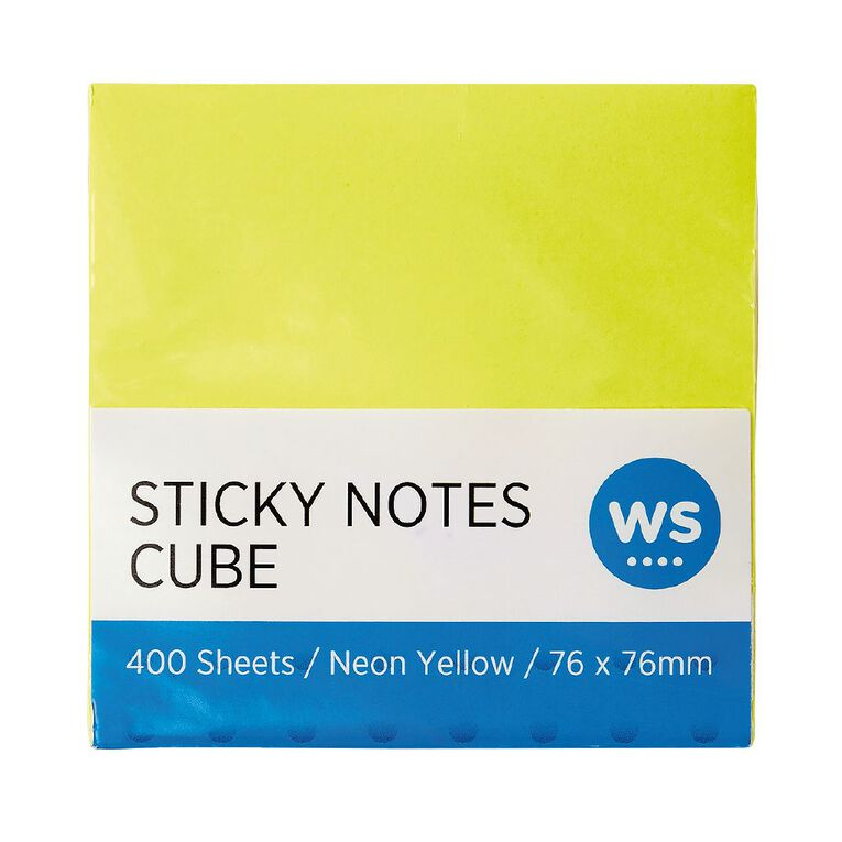 WS Yellow Sticky Notes 76mm x 76mm 400 Sheet Cube, , hi-res image number null