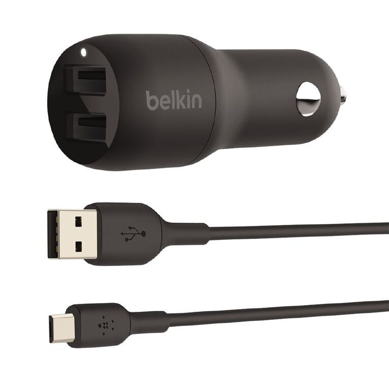 Belkin BoostCharge 24W Dual USB-A Car Charger Black, , hi-res