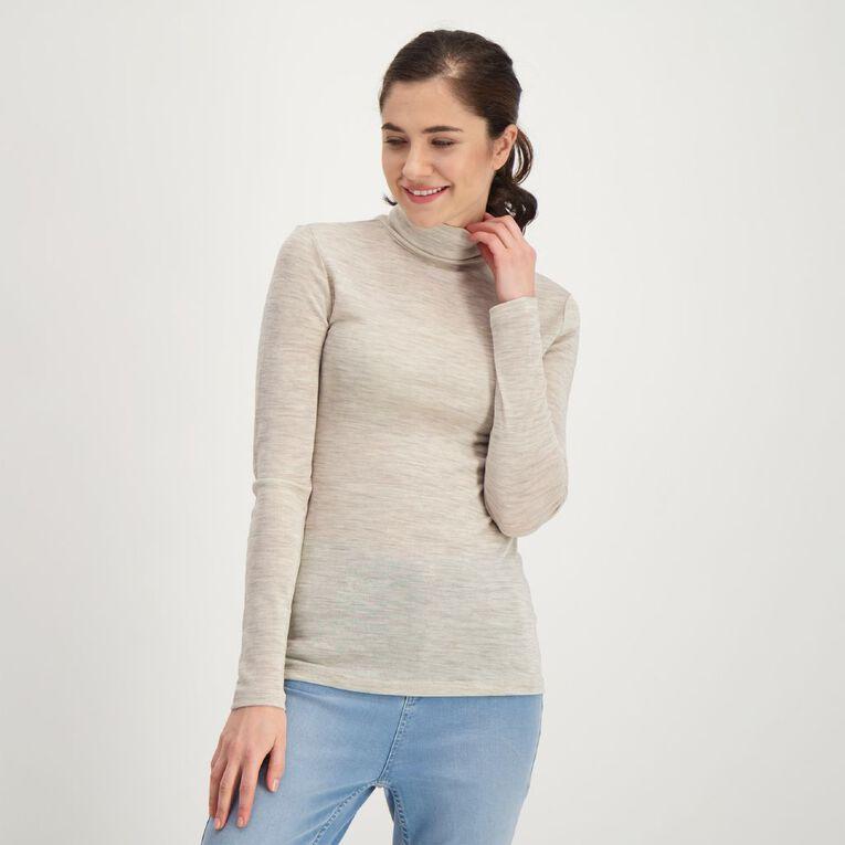 H&H Women's Merino Blend Roll Neck, Brown Light, hi-res
