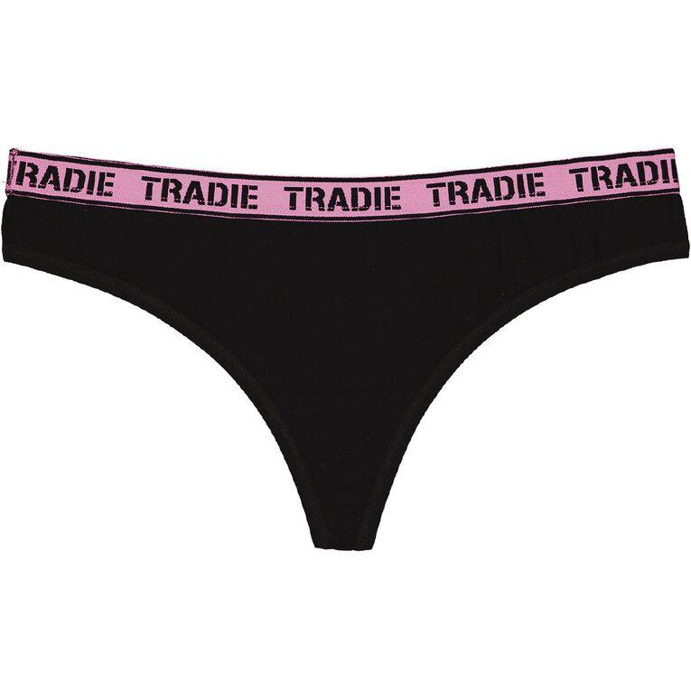 Tradie Women's G-String 3 Pack, Black, hi-res