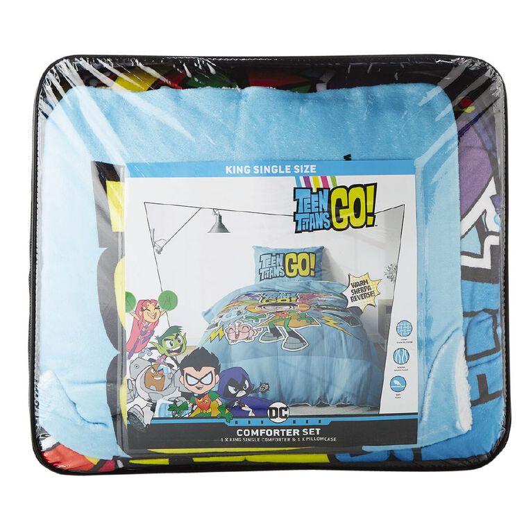 Teen Titans Comforter Set Plush Sherpa Reverse King Single, , hi-res