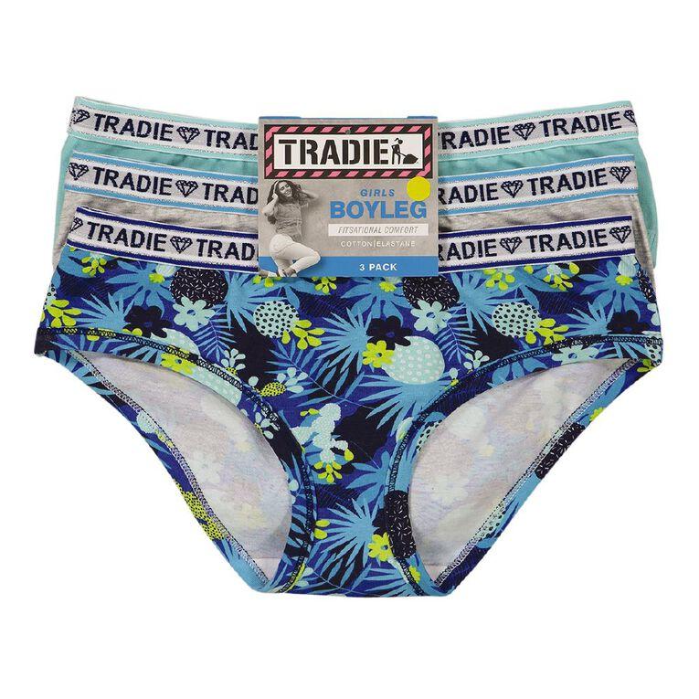 Tradie Girls' Boyleg 3 Pack, Blue, hi-res
