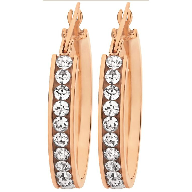 Stainless Steel Rose Gold Plated CZ Channel Hoop Earrings, , hi-res