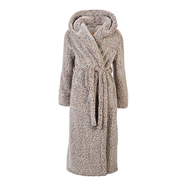 H&H Love Your Planet Women's Hooded Robe, Brown, hi-res