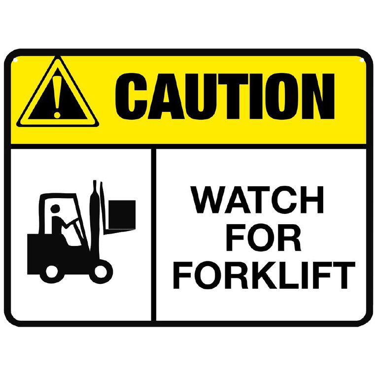 WS Caution Watch For Forklift Sign Large 450mm x 600mm, , hi-res