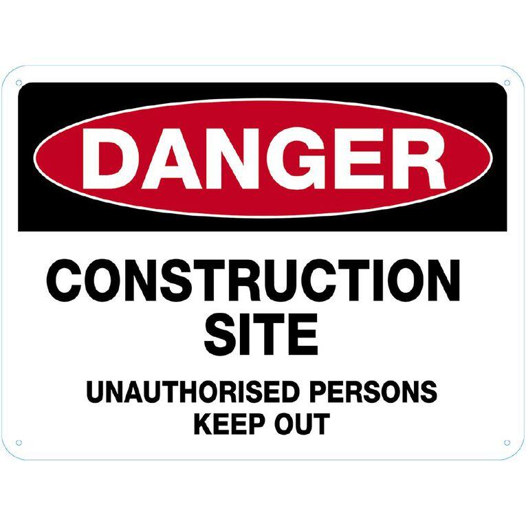 WS Danger Construction Site Sign Large 450mm x 600mm, , hi-res