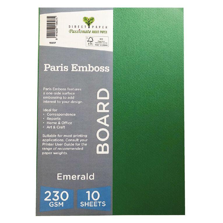 Direct Paper Paris Emboss 230gsm A4 10 Pack Emrald, , hi-res