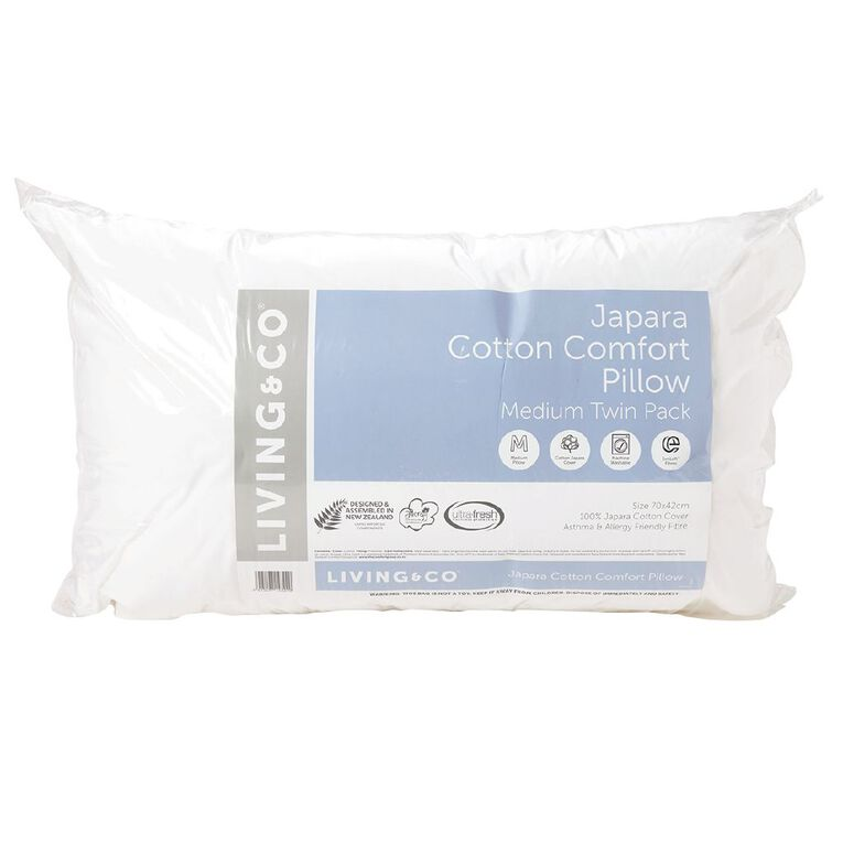 Living & Co Pillow Japara Cotton Medium Twin Pack, White, hi-res