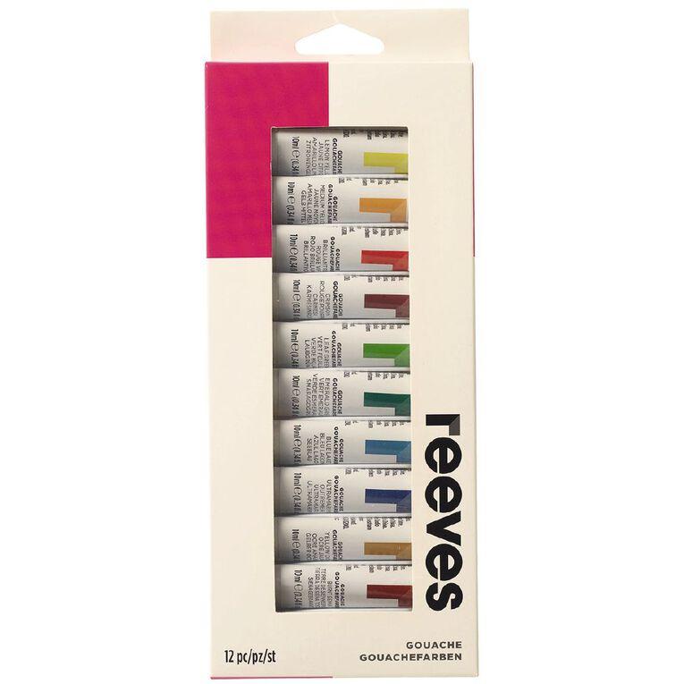 Reeves Paint Set Gouache 12 Pack Multi-Coloured, , hi-res