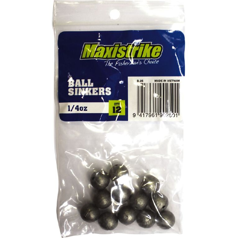 Maxistrike Fishing Sinkers Ball 1/4 oz 12 Pack, , hi-res image number null