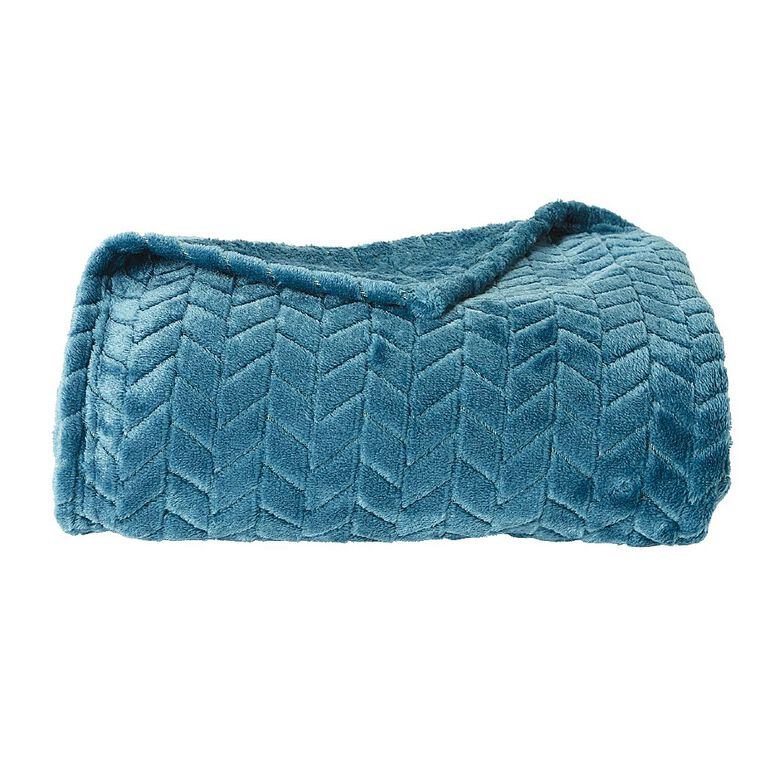 Living & Co Jacquard Plush Touch Throw Teal 127cm x 152cm, Teal, hi-res image number null