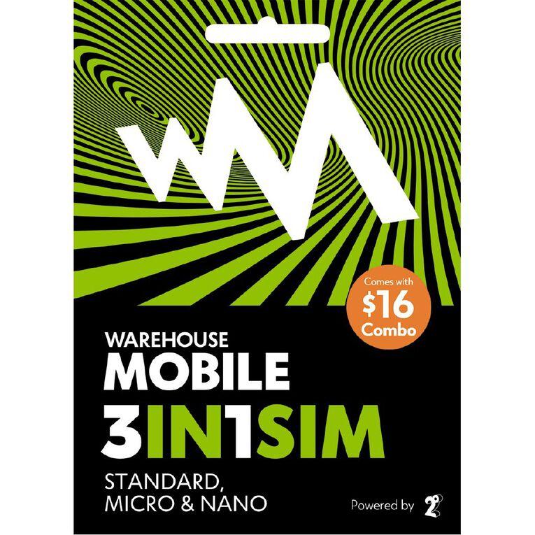 Warehouse Mobile $16 Combo SIM, , hi-res