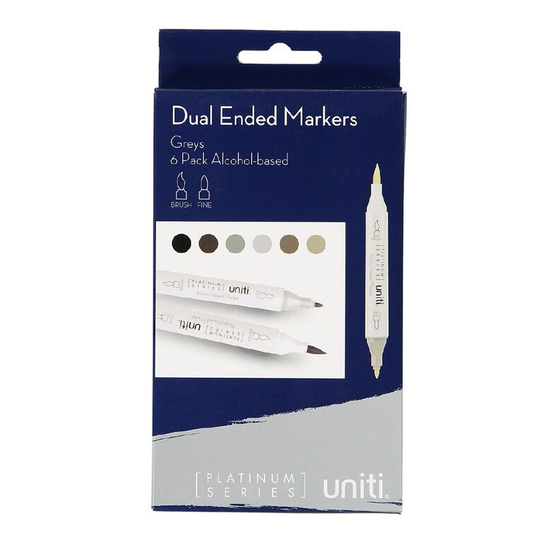 Uniti Dual Ended Markers Greys 6 Pack, , hi-res
