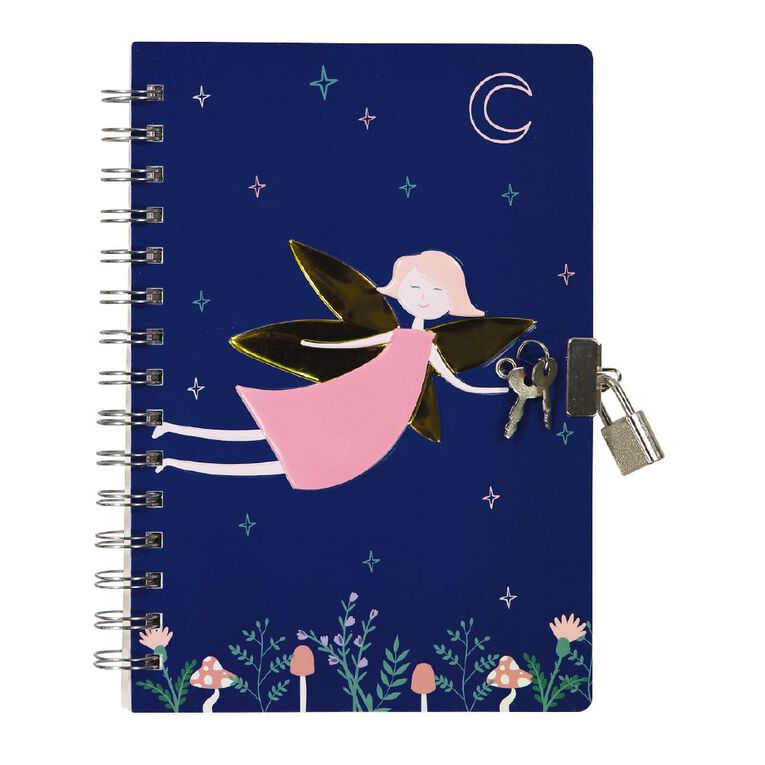 Kookie Enchanted Notebook With Lock Navy A5, , hi-res