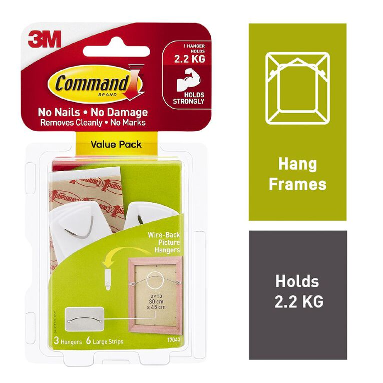Command Wire-Backed Picture Hanger Value Pack White, , hi-res